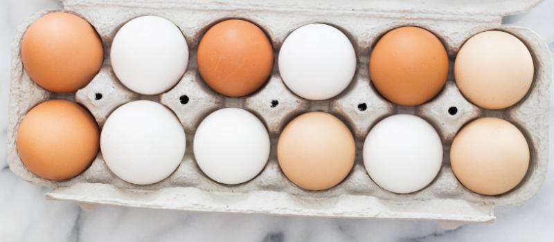 Æg i en æggebakke.